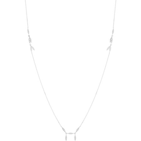 Lesa Michele Hammered Oval Bars Necklace in Sterling Silver Hammered Oval Necklace