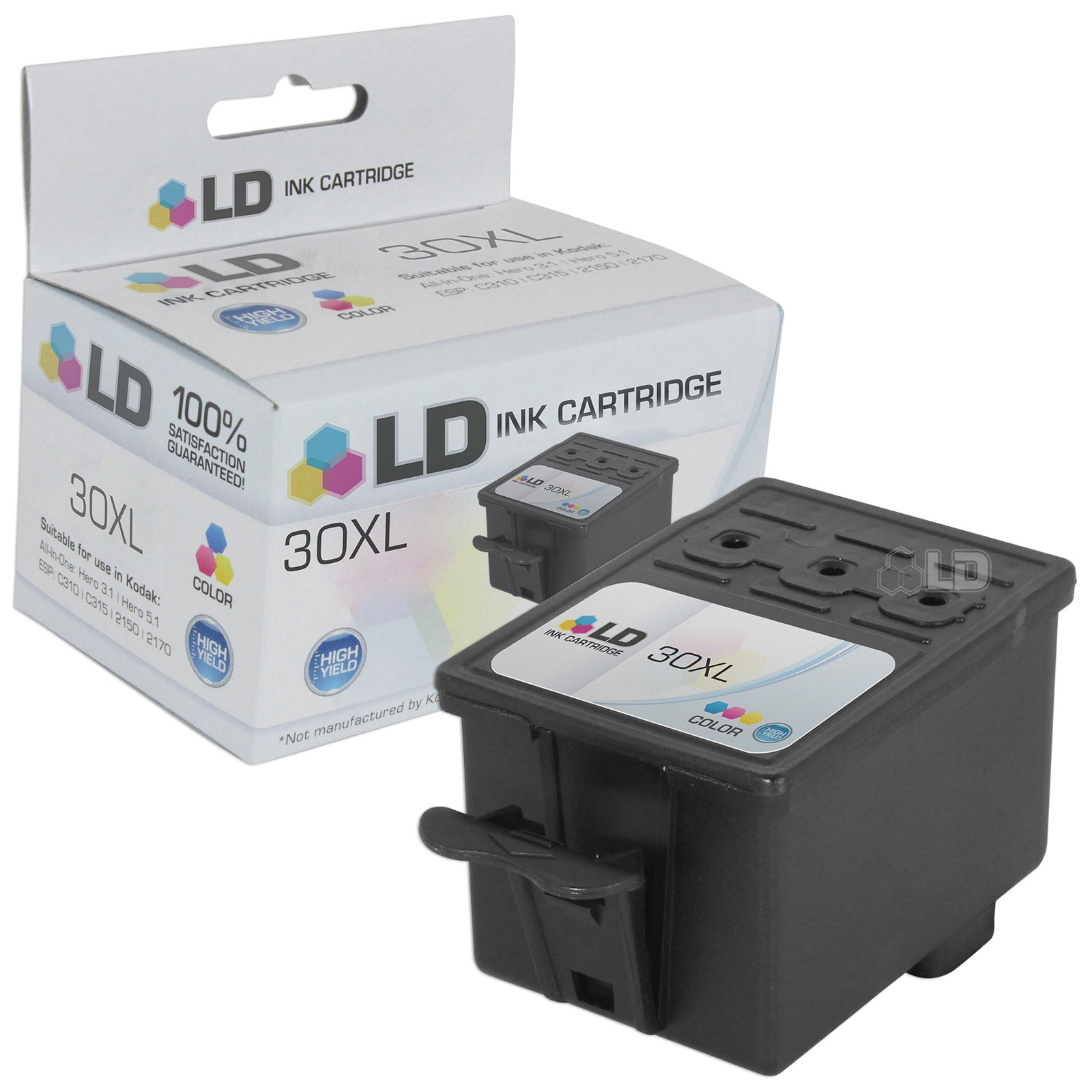 LD Compatible Replacement for Kodak 30XL / 30 (1341080) High Yield Color Ink Cartridge for use in Kodak Hero 3.1, 5.1, ESP C310, C315, & Office 2150, 2170 Printers