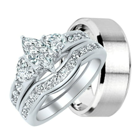 set carat rings heart wedding hers his white shiny diamond matching ring and solid