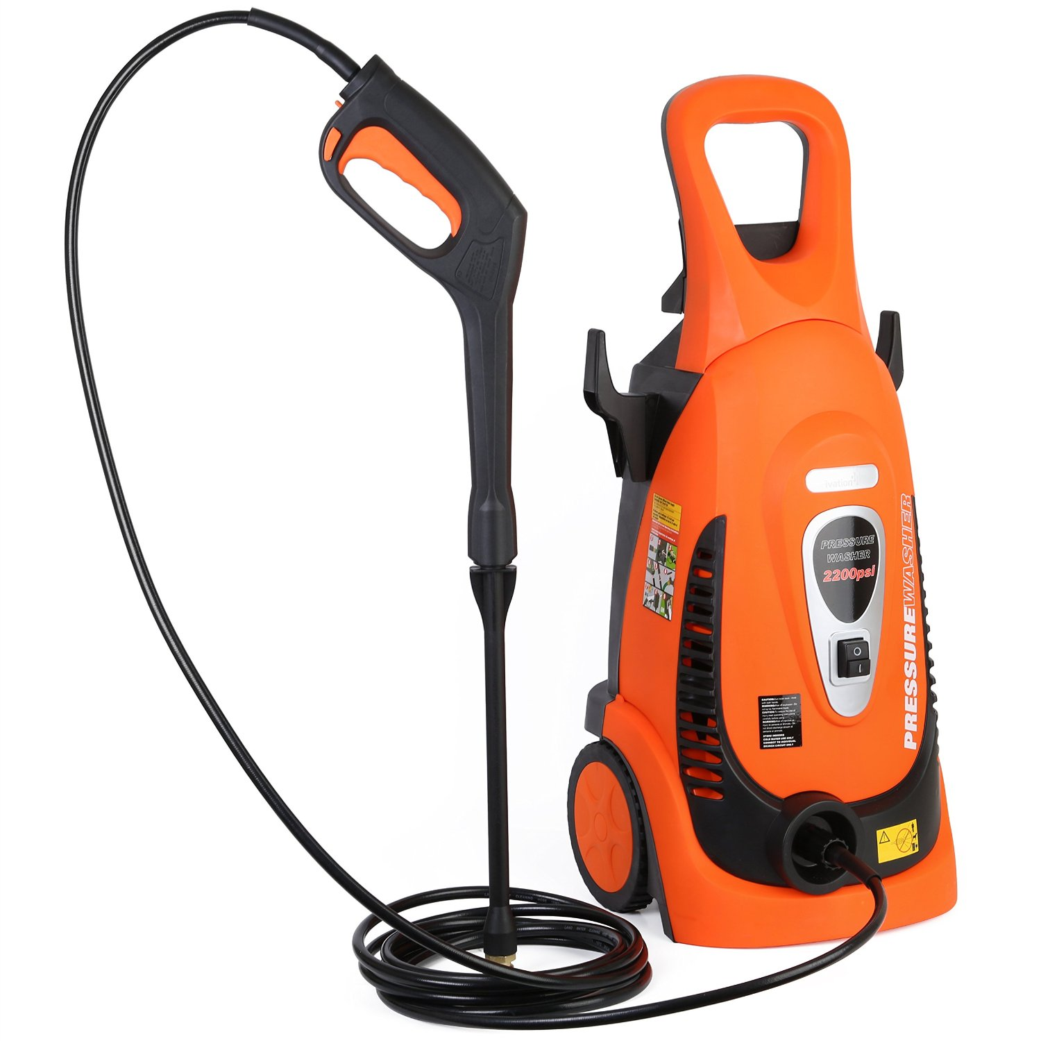 Ivation Electric Pressure Washer 2200 PSI 1.8 GPM with Nozzle Gun