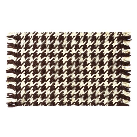 Tassel Accent (Dark Brown Rustic & Lodge Flooring Carrington Wool Knotted Tassels Houndstooth Rectangle Accent)