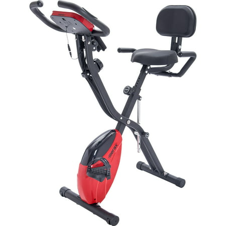 Clearance! Folding Recumbent Exercise Bike, 3-in-1 Compact Stationary Bicycles, Slim Cycle w/ Adjustable Arm Resistance Bands, LCD Monitor, Tablet Holder, High Backrest, Holds 260 lbs, Red, Q5235