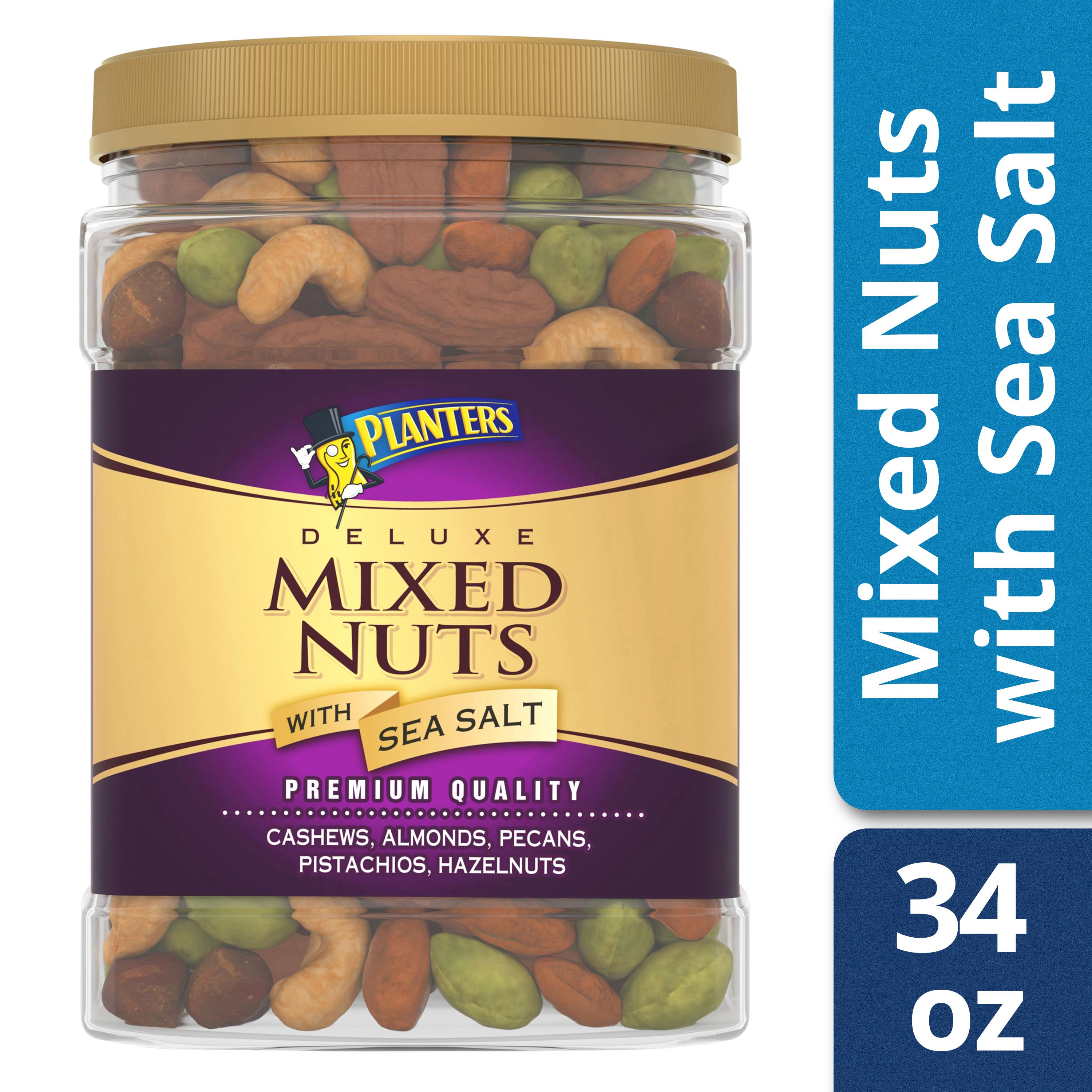 Planters Deluxe Mixed Nuts with Sea Salt 34 oz Jar