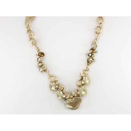 Elegant Classy Champagne Nude Satin Fabric Heart Shaped Gemstone Wrap Necklace