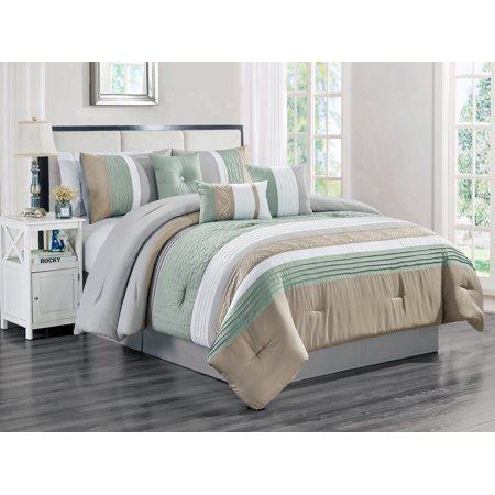 7-Pc Rania Geometric Lines Embroidery Triangle Diamond Embossed Pleated Comforter Set Mint Green White Gray Taupe Queen ()