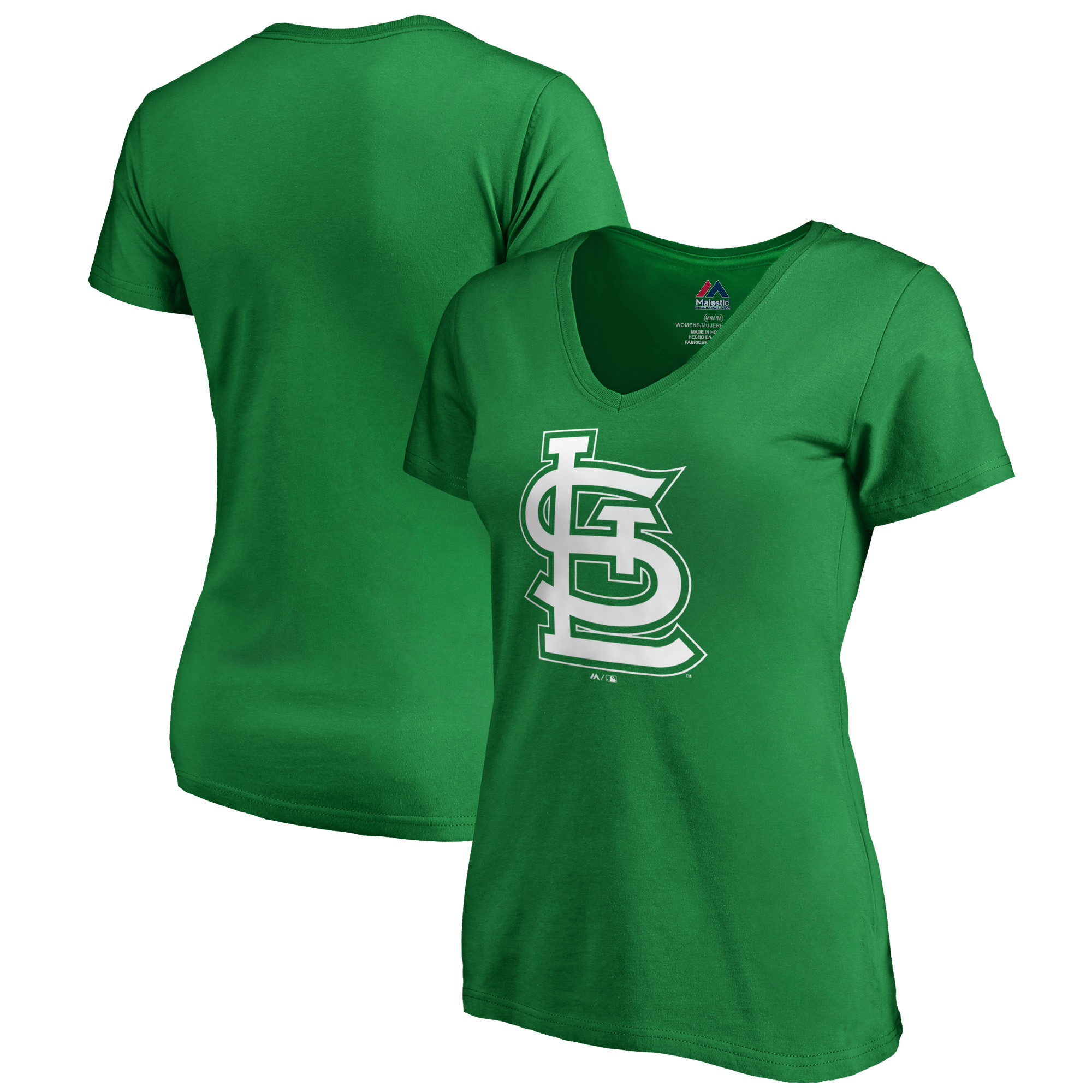 St. Louis Cardinals Majestic Women's 2019 St. Patrick's Day White Logo V-Neck T-Shirt - Kelly Green