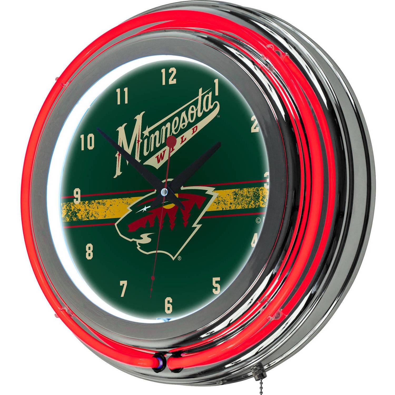 NHL Chrome Double Rung Neon Clock, Minnesota Wild