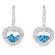 Floating Blue CZ Sterling Silver Designer Heart-Shape Earrings