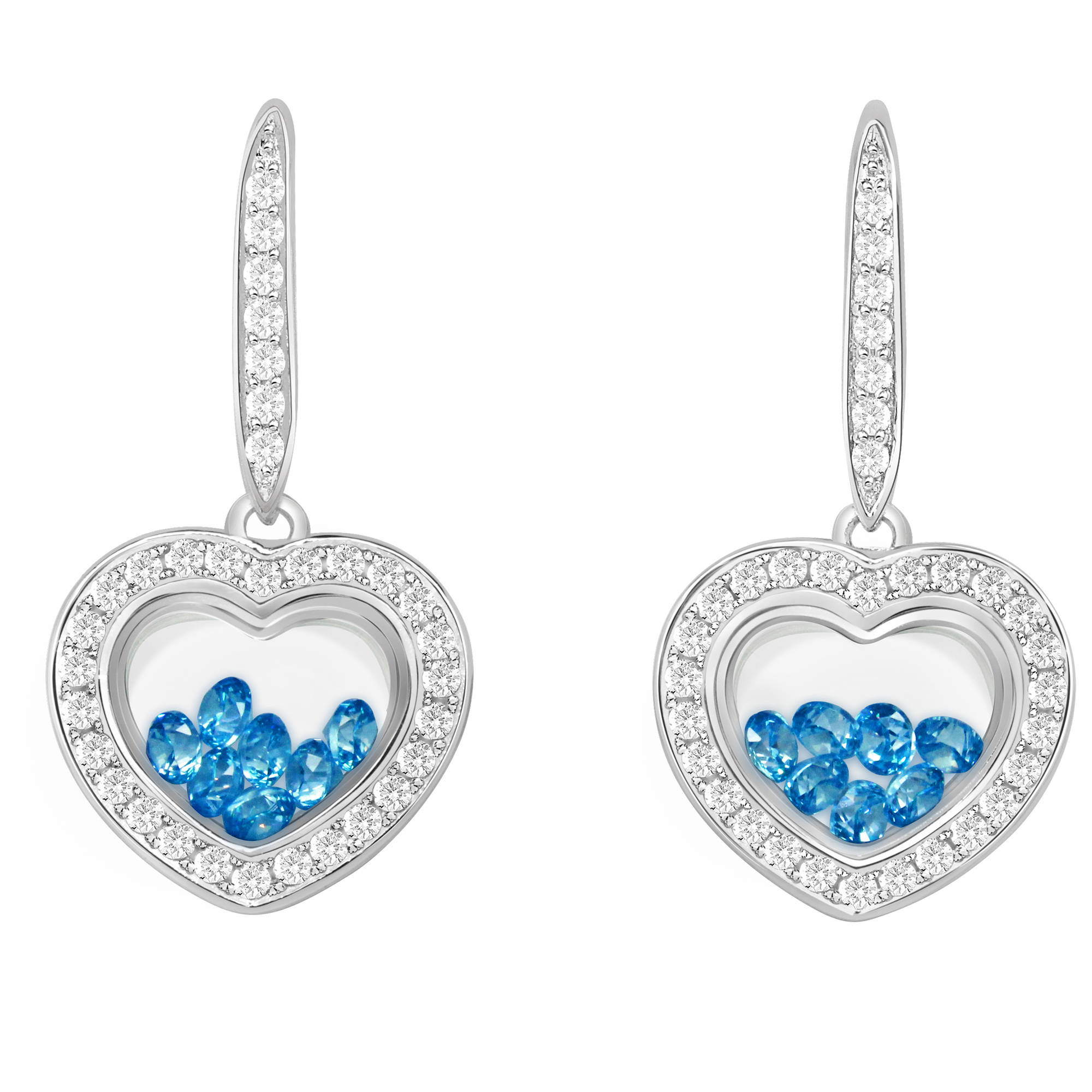 Chetan Collection Floating Blue CZ Sterling Silver Designer Heart-Shape Earrings