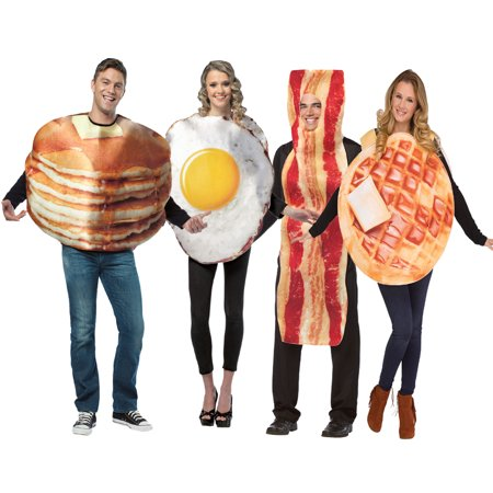 Breakfast Group Costume - Bacon, Eggs, Pancake, Waffle](Bacon And Egg Costumes)
