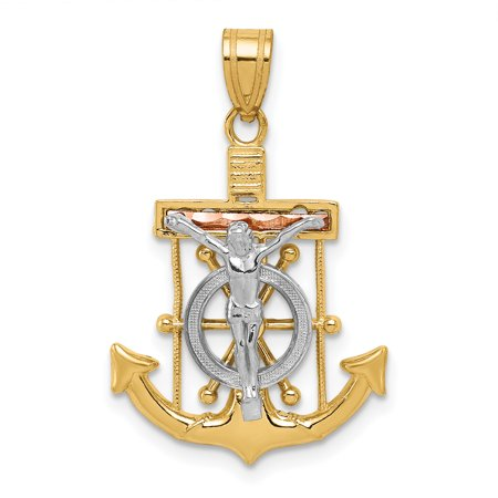 14k Tri Color Yellow White Gold Textured Nautical Anchor Ship Wheel Mariners Cross Religious Pendant Charm Necklace Crucifix Mariner
