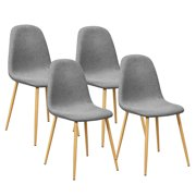 Costway Set of 4 Modern Dining Accent Side Chairs Wood Legs Home Furniture