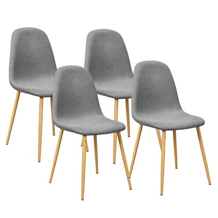 Costway Set of 4 Modern Dining Accent Side Chairs Wood Legs Home Furniture ()