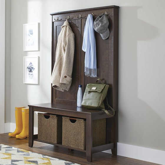 Mudroom Storage Walmart : Better homes and gardens parker hall tree bench estate