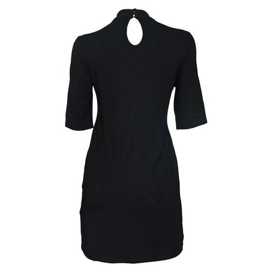 Plus Size Mock Turtleneck Lace Up Dress Black