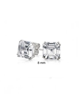 Cubic Zirconia Solitaire Square 4 Prong Asscher Cut AAA CZ Stud Earrings For Women 925 Sterling Silver 5 6 7 8 9 10 MM