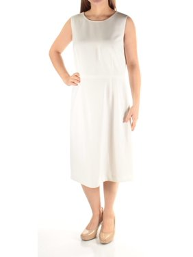 be9a1e755ed8 Product Image KASPER Womens Ivory Sleeveless Jewel Neck Below The Knee Dress  Size: 4