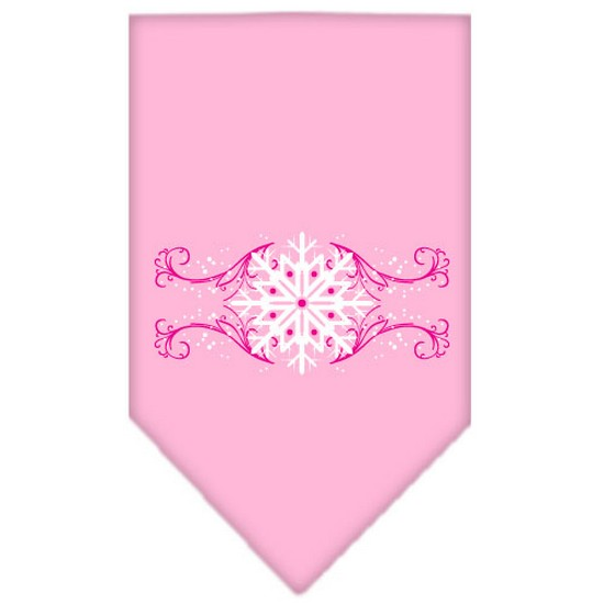 Pink Snowflake Swirls Screen Print Bandana Light Pink Small