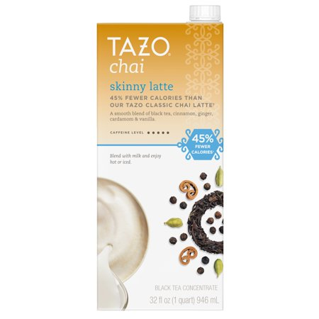 Naturally Flavored Black Tea - (3 Count) Tazo Skinny Chai latte Concentrate Black Tea, 32 OZ