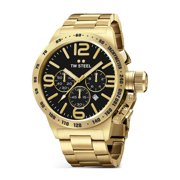 Mens XXL Stainless Steel Case Canteen Bracelet Black Dial Gold Watch - CB94
