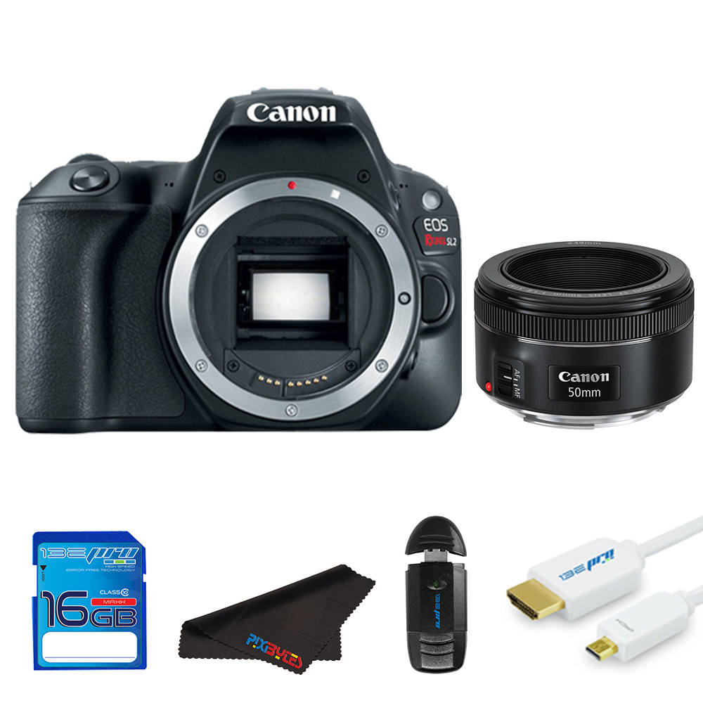 Canon EOS Rebel SL2/200D DSLR Camera (Black) + Canon 50mm STM Lens + Pixi Starter Bundle Kit