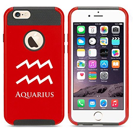 Apple Iphone 5C Shockproof Impact Hard Case Cover Horoscope Zodiac Birth Sign Aquarius  Red   Mip