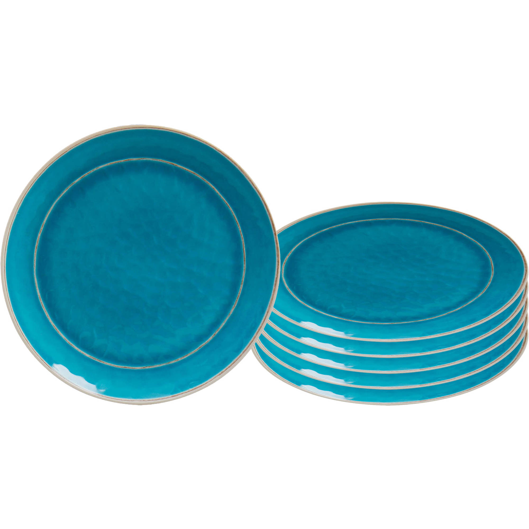 Better Homes and Gardens Textured Dinner Plate, Set of 6, Melamine