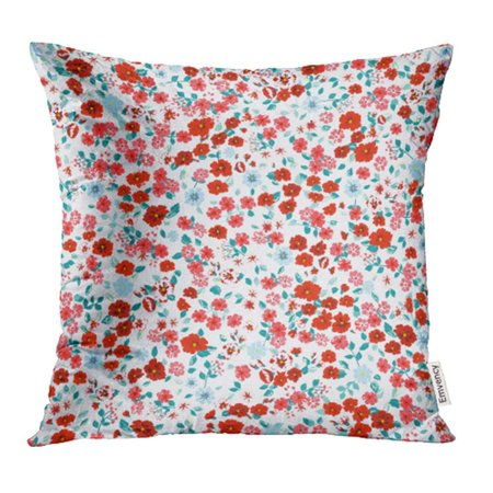 ARHOME Flowery Bright in Small Scale Red Blue Flowers Liberty Millefleurs Floral Pillowcase Cushion Cases 20x20 -
