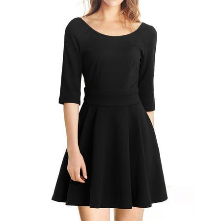 6dd97a2fd3c1 Unique Bargains Women s Vintage Pleated Fit and Flare Skater Dress Black ( Size L   12 ...