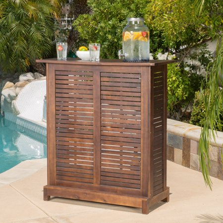 Ashlin Outdoor Acacia Wood Bar, Rich Mahogany ()