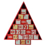 Northlight 14 in. Rustic Red and White Christmas Tree Advent Calendar