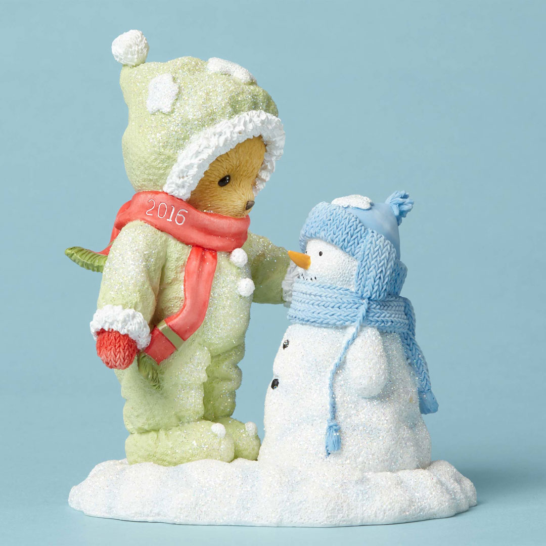 Cherished  Teddies Bear with Snowman Dated Figure 4053450 New 2016