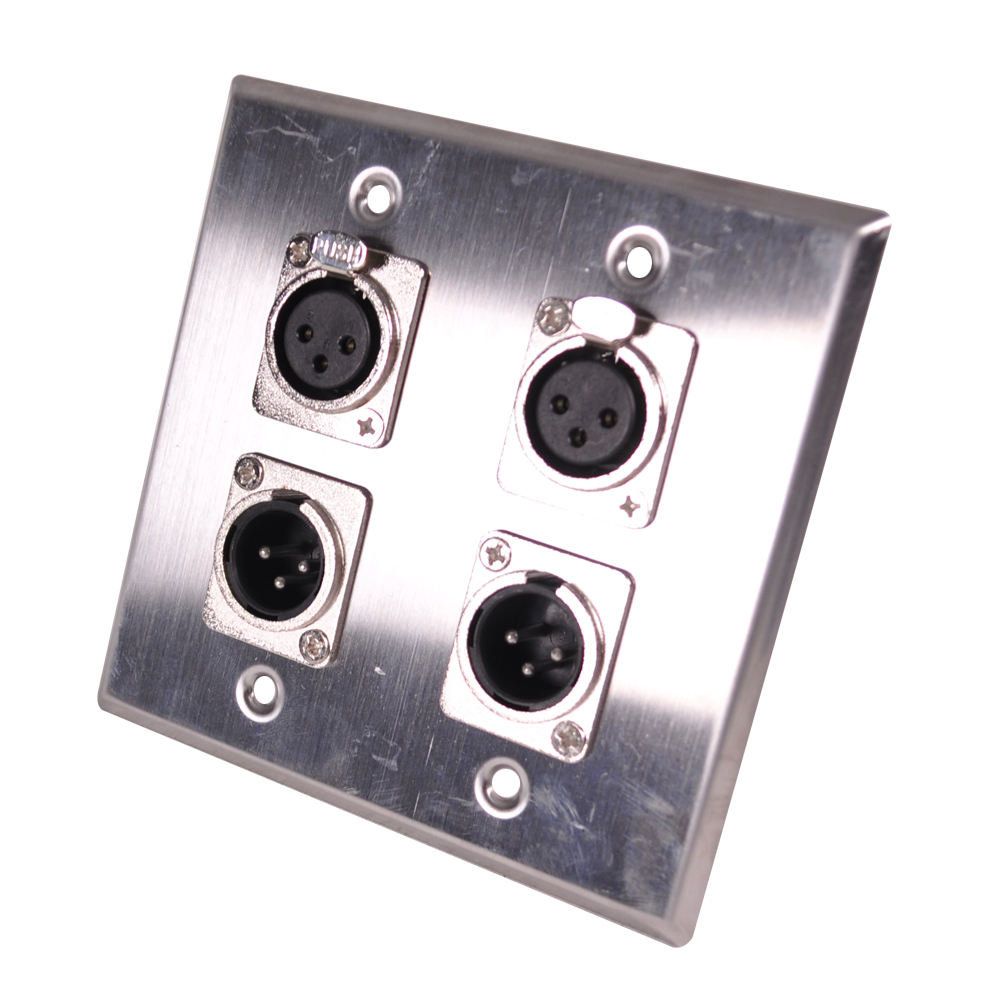 Seismic Audio Stainless Steel Wall Plate - 2 Gang with 2 XLR Male and 2 XLR Female Connectors Silver - SA-PLATE39