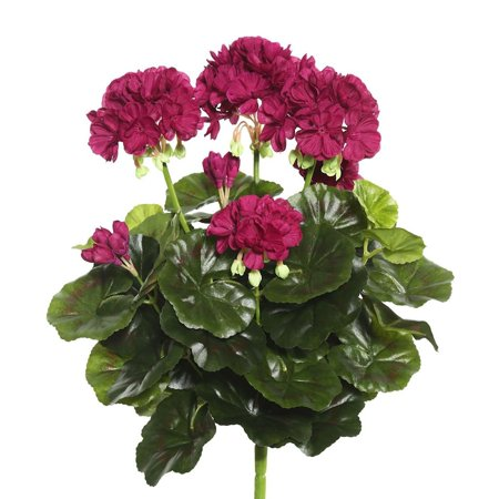 Vickerman 15 25  Pink Polyester Geranium Bush With 52 Leaves And 92 Flowers