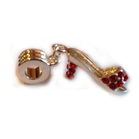 Enameled High Heel Shoe Charm (Fancy W/red  Crystals High Heel Shoe European Bead Compatible for Most European Snake Chain Charm Bracelet)