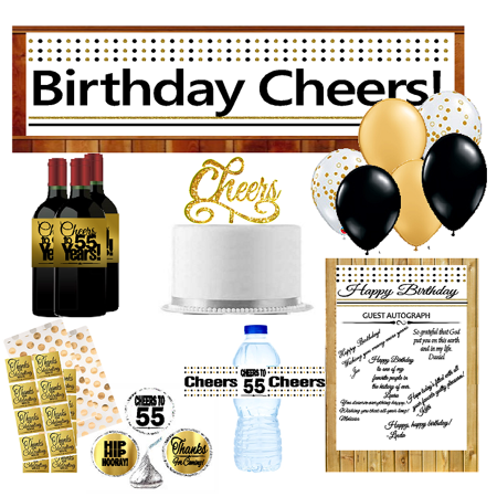 55th Birthday Party DecorationsDecoraitons Kit W Banner Water Bottle Labels Hersheys Stickers Balloons Cake Decoration
