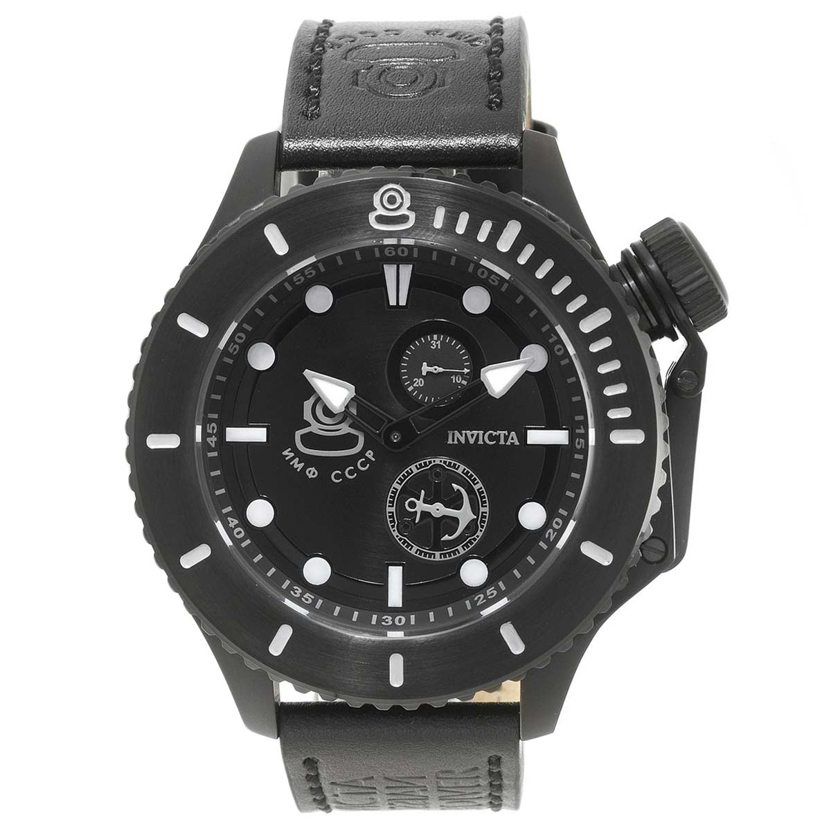 Invicta 22013 Men's Russian Diver Black Dial Black Leather Strap Watch