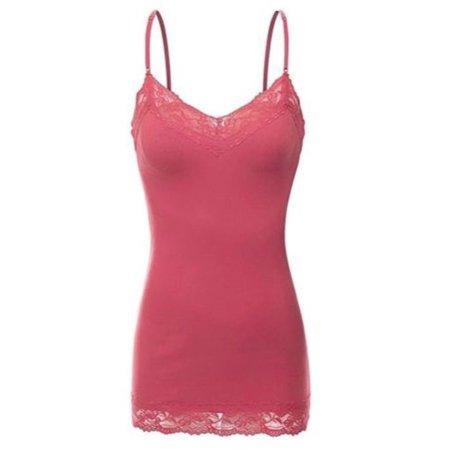 cd0423eada9 Women s Plus Size Lace Low-cut Camisole Tank Top Adjustable Cami -  Walmart.com