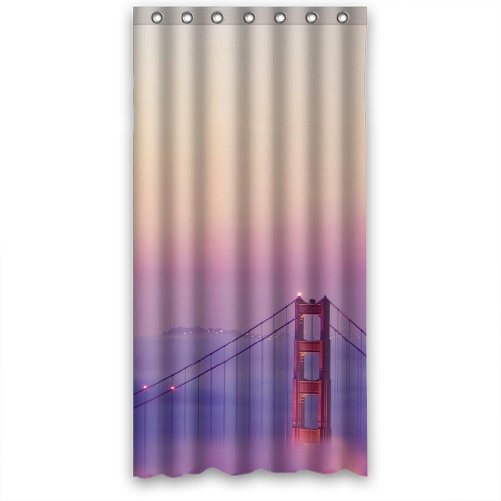Hellodecor Misty Purple City Bridge Light Shower Curtain Polyester Fabric Bathroom Decorative Curtain Size 36x72 Inches