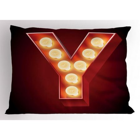Letter Y Pillow Sham Casino Nightclub Inspired Alphabet Typography Entertainment Retro Y  Decorative Standard Size Printed Pillowcase  26 X 20 Inches  Vermilion Yellow Black  By Ambesonne