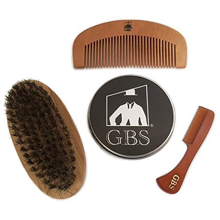 Bamboo Comb (GBS Combo Set (3 Pc Kit) Premium Oval Wood Beard Brush with Boar Bristles, Bamboo All Fine Beard Comb & Tortoise Pocket Beard and Moustache Comb)