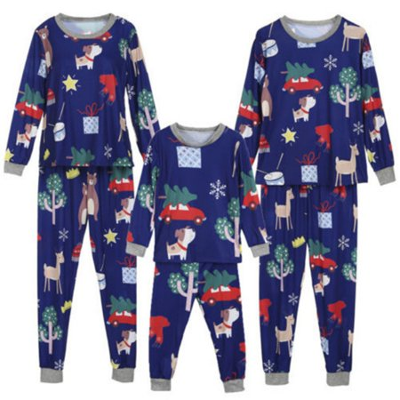 Fymall Family Matching Pajamas Sets Christmas Tree and Dog Pattern Shirt Tops+ Plaid Pants Mom Dad Kids Two-piece Sleepwear (Sleeping Dogs Best Outfit)