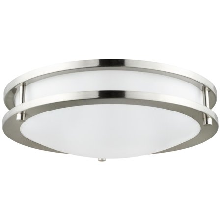 """Sunlite Round Decorative LED Fixture, Steel Body, Brushed Nickel, Flush Mount, 28 Watt, 18"""" Diameter, 35,000 Hour Lamp Life, Enery Star Rated, Dimmable, 2000 Lumens, Cool White"""