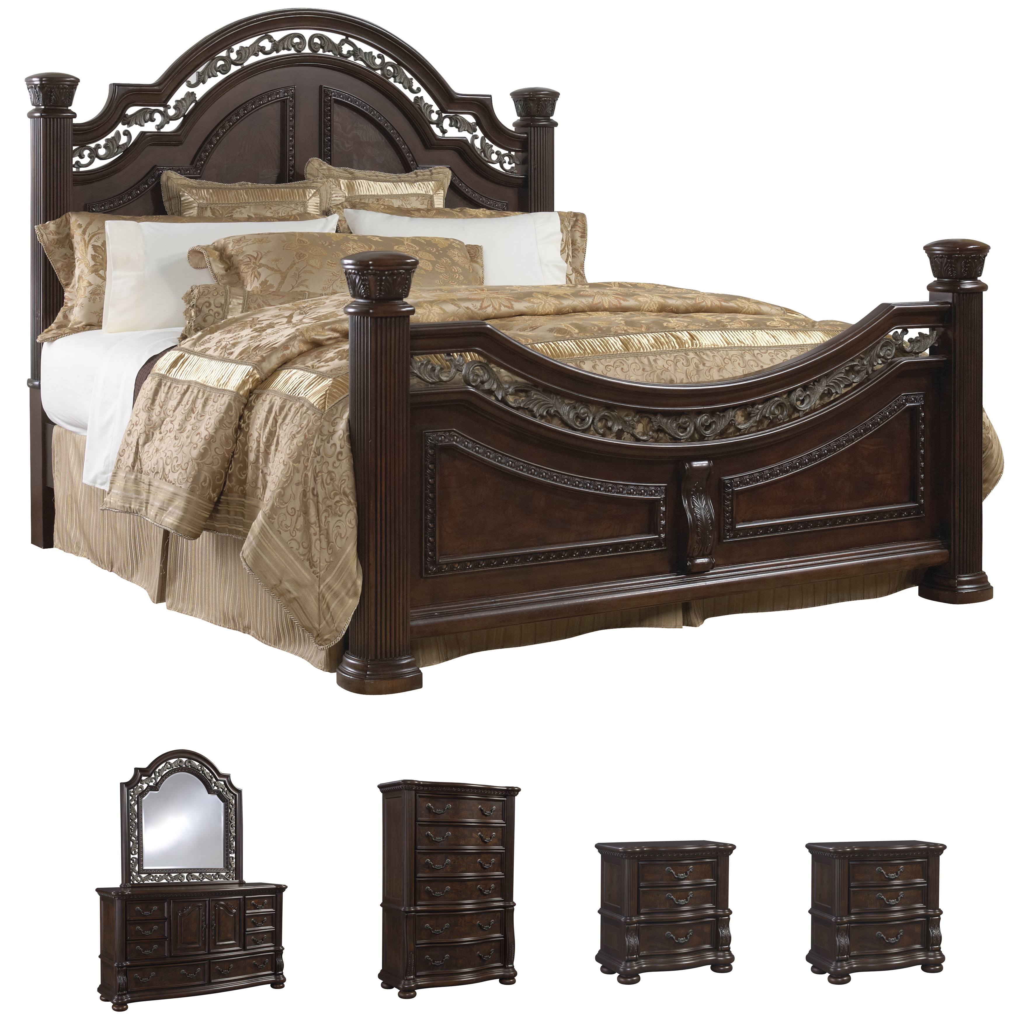 Sofaweb.com Tuscany 6-piece Mocha Finish King-size Bedroom Set ...