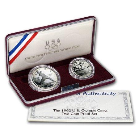 1992 2-Coin Olympic Proof Set (w/box & COA)