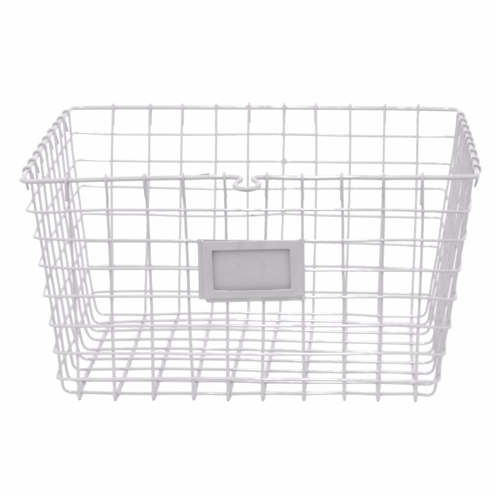 17737 Metal Basket - White - Benzara