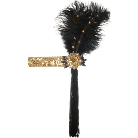 Star Power Adult Sequined with Feather Flapper Headband, Black Gold, One Size](Gold Feather Headband)