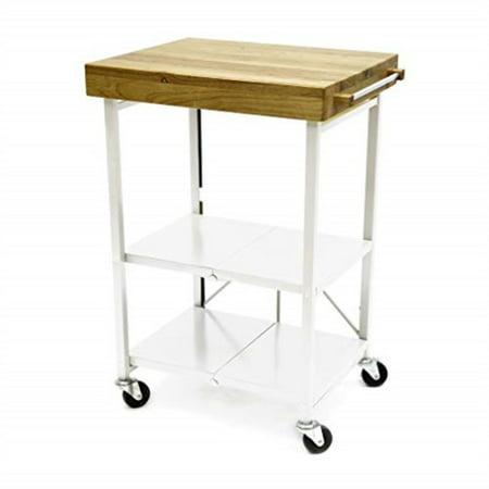 origami foldable kitchen island cart, white