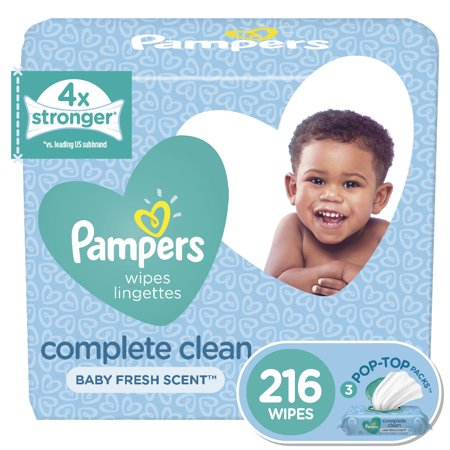 Pampers Baby Wipes, Complete Clean Scented, 3X Pop-Top Packs, 216 Ct