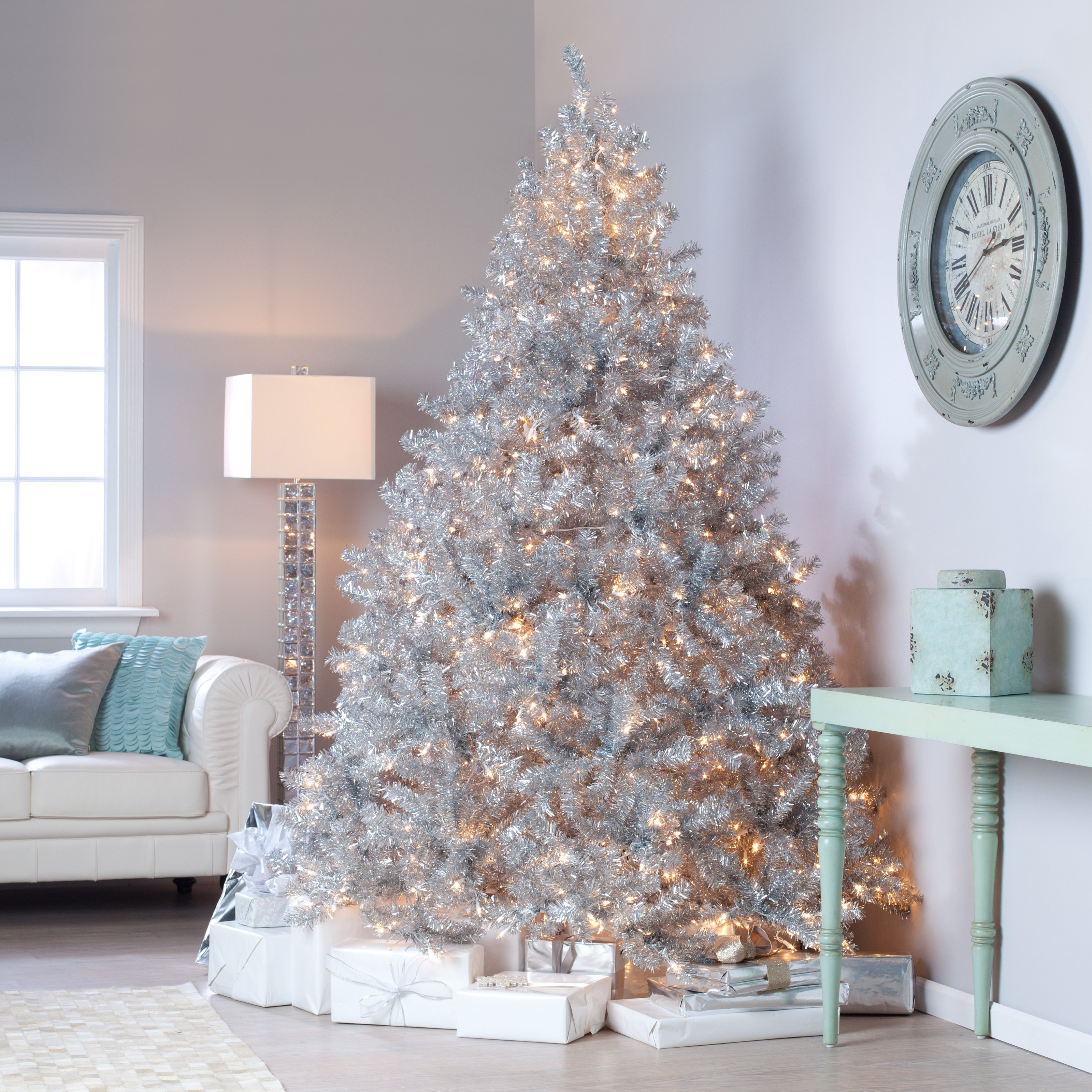Classic Silver Tinsel Full Pre Lit Christmas Tree With Clear Lights